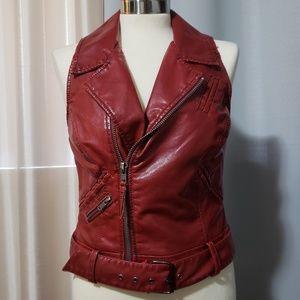 Red biker pleather vest